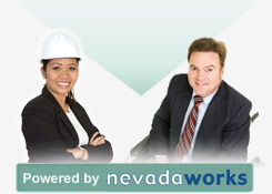 Powered by Nevada Works - Training providers graphic - Female with white hard hat, male in wheelchair with suit jacket and tie